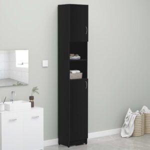 Armário de casa de banho 32x25,5x190 cm contraplacado preto - PORTES GRÁTIS