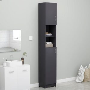 Armário de casa de banho 32x25,5x190 cm contraplacado cinza - PORTES GRÁTIS