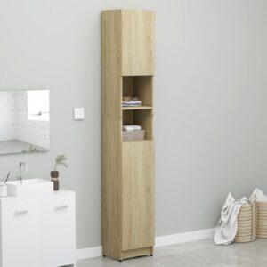 Armário de casa de banho 32x25,5x190cm contraplaca. carvalho - PORTES GRÁTIS