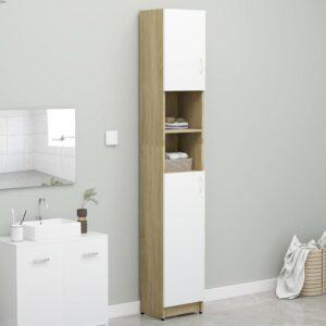 Armário casa banho 32x25,5x190cm contraplaca. branco/carvalho - PORTES GRÁTIS