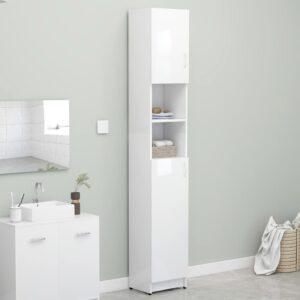 Armário casa banho 32x25,5x190cm contraplacado branco brilhante - PORTES GRÁTIS