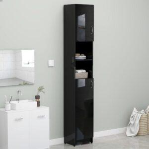 Armário casa banho 32x25,5x190cm contraplacado preto brilhante - PORTES GRÁTIS