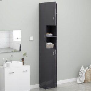 Armário casa banho 32x25,5x190cm contraplacado cinza brilhante - PORTES GRÁTIS