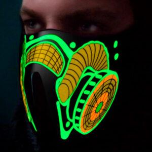 As Luzes Ativam-se Com o Som - Máscara Antigás Led Verde - VEJA O VIDEO