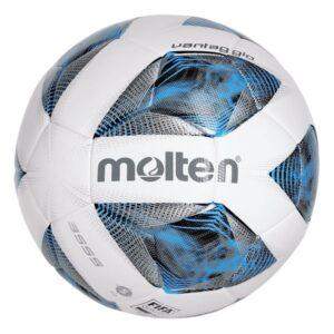 Molten® Bola de Futebol F5A3555 Couro Sintético Branco/Azul (Tamanho 5)