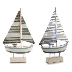 Barco Gift Decor Chapa Madeira (6,7 x 41 x 23 cm) Luzes LED