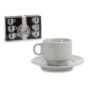 Conjunto de Chávenas de Café Porcelana (6 Peças) (14 x 2 x 14 cm)