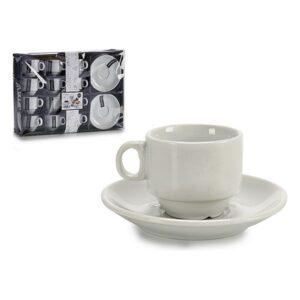 Conjunto de Chávenas de Café Porcelana (11,8 x 1,6 x 11,8 cm) (12 Peças)