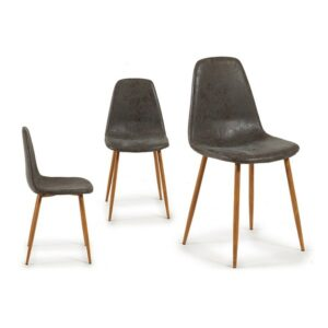 Cadeira de Sala de Jantar Gift Decor Cinzento Couro (51 x 86 x 44 cm)