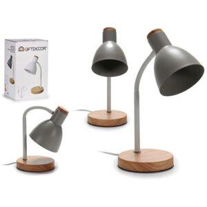 Flexo/Lâmpada de secretária Gift Decor Cinzento Madeira Metal (14 x 36 x 14 cm)