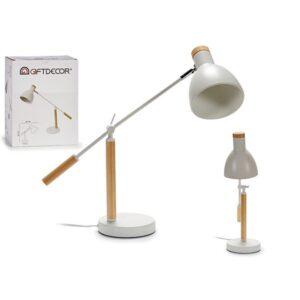 Flexo/Lâmpada de secretária Gift Decor Branco Madeira Metal (15 x 52 x 59 cm)