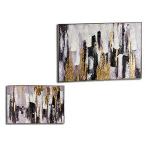 Quadro Gift Decor (122 x 4,5 x 82 cm) Dourado Prateado