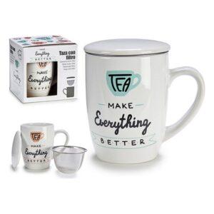Chávena com Filtro para Infusões Porcelana (12,5 x 11 x 8,5 cm)
