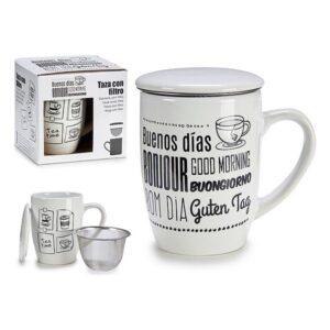 Chávena com Filtro para Infusões Porcelana (8,5 x 12,5 x 11 cm)