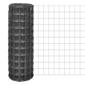 Cerca 25x1 m aço cinzento - PORTES GRÁTIS