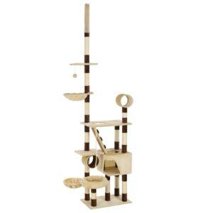 Árvore p/ gatos com arranhadores sisal 246-280 cm bege/castanho - PORTES GRÁTIS