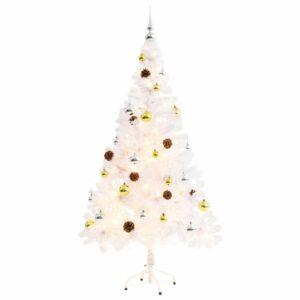 Árvore Natal artifici. decorada c/ enfeites e LEDs 150cm branco - PORTES GRÁTIS