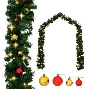 Grinalda de Natal decorada com enfeites e luzes LED 20 m - PORTES GRÁTIS