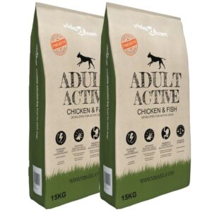Ração premium cães Adult Active Chicken & Fish 2 pcs 30 kg - PORTES GRÁTIS