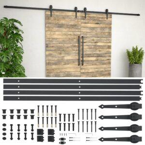 Kit de ferragens para porta deslizante 2x183 cm aço preto - PORTES GRÁTIS