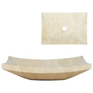 Lavatório 50x35x12 cm mármore cor creme - PORTES GRÁTIS