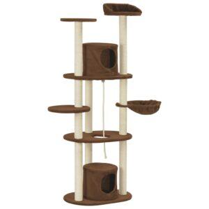 Árvore para gatos com postes arranhadores sisal 160 cm castanho - PORTES GRÁTIS