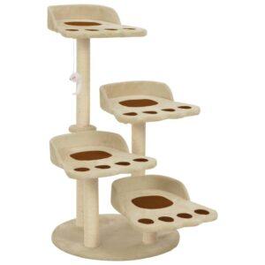 Árvore para gatos c/postes arranhadores sisal 90 cm bege - PORTES GRÁTIS