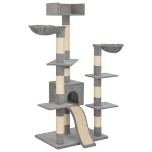 Árvore gatos c/ postes arranhadores sisal 183 cm XXL cinzento - PORTES GRÁTIS
