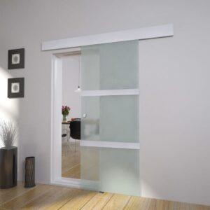 Porta deslizante em vidro e alumínio 178 cm prateado - PORTES GRÁTIS