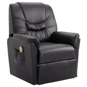 Cadeira massagens reclinável elétrica couro artificial cinzento - PORTES GRÁTIS