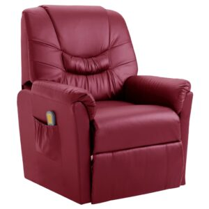 Cadeira massagens reclinável elétrica couro art. vermelho tinto - PORTES GRÁTIS
