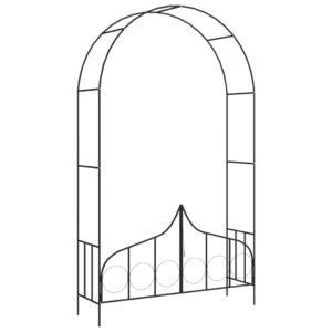 Arco de jardim com portão 138x40x238 cm ferro preto  - PORTES GRÁTIS