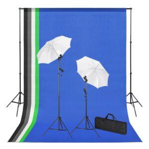 Kit estúdio de fotografia com fundos iluminação e sombrinhas - PORTES GRÁTIS