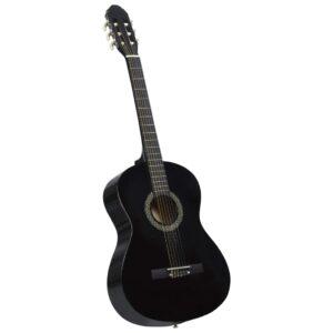 Guitarra Clássica Para Iniciantes  4/4 39 Madeira Tilia Preto - PORTES GRÁTIS