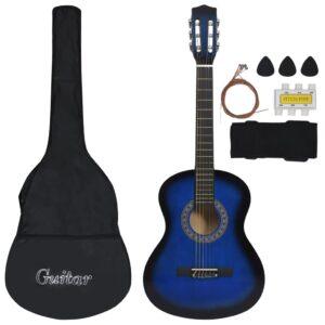 Conjunto 8 Peças Guitarra Clássica Crianças/Iniciantes 3/4 36 azul - PORTES GRÁTIS