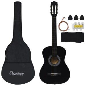 Conjunto 8 Peças Guitarra Clássica Iniciantes 3/4 36 Preto - PORTES GRÁTIS