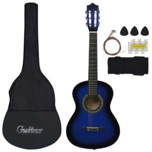 Conjunto 8 Peças Guitarra Clássica Iniciantes 1/2 34 Azul - PORTES GRÁTIS