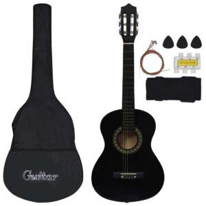 Conjunto 8 Peças Guitarra Clássica Iniciantes 1/2 34 Preto - PORTES GRÁTIS