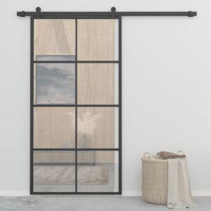Porta de correr 102,5x205 cm alumínio e vidro ESG preto  - PORTES GRÁTIS