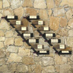 Garrafeiras de parede para 14 garrafas 2 pcs metal preto - PORTES GRÁTIS