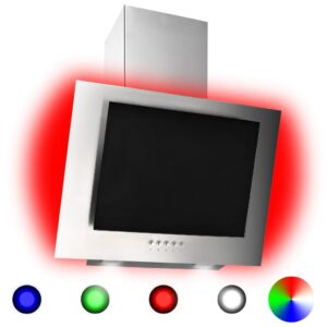 Exaustor RGB LED 60 cm aço inoxidável e vidro temperado - PORTES GRÁTIS