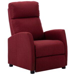 Poltrona reclinável tecido vermelho tinto - PORTES GRÁTIS