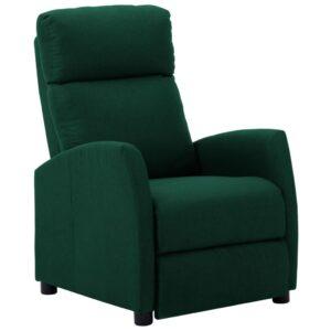 Poltrona reclinável tecido verde-escuro - PORTES GRÁTIS
