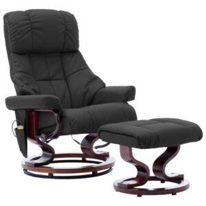Poltrona reclin. apoio de pés couro artif./madeira curva preto - PORTES GRÁTIS