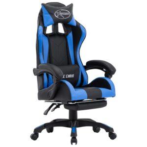 Cadeira de Gaming / Escritório c/ apoio pés couro artificial azul/preto - PORTES GRÁTIS