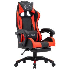 Cadeira de Gaming / Escritório c/ apoio pés couro artif. vermelho/preto - PORTES GRÁTIS