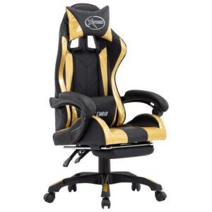 Cadeira de Gaming / Escritório c/ apoio pés couro artif. dourado/preto - PORTES GRÁTIS