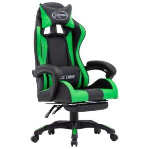 Cadeira de Gaming / Escritório c/ apoio pés couro artif. verde/preto - PORTES GRÁTIS