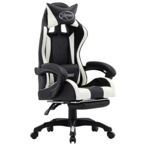 Cadeira de Gaming / Escritório c/ apoio pés couro artif. branco/preto - PORTES GRÁTIS