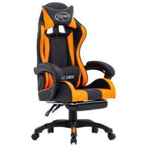 Cadeira de Gaming / Escritório c/ apoio pés couro artif. laranja/preto - PORTES GRÁTIS